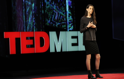 TED Fellow Kitra Cahana shares the story of her father at TEDMED. Photo: Courtesy of TEDMED